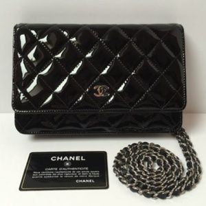 Chanel Black Patent Leather WOC wallet on chain